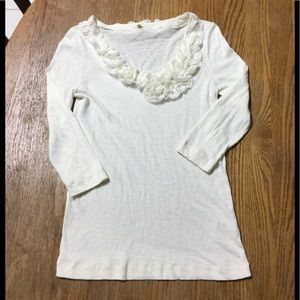 J. Crew 3/4th Sleeve Off White Top